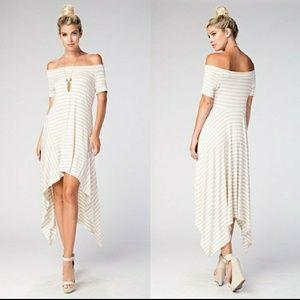 LOVE IN off shoulder striped dress